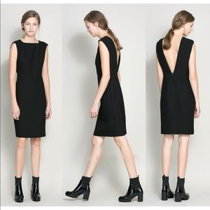 Zara Black Sleeveless Plunge V Back sheath  Dress